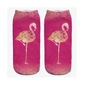 Hot Pink Geo Flamingo Women's Ankle Socks